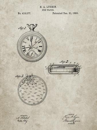PP940-Sandstone Lemania Swiss Stopwatch Patent Poster