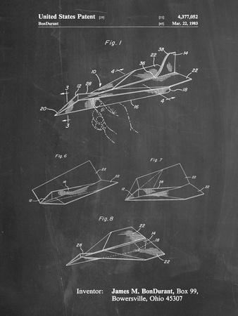 PP983-Chalkboard Paper Airplane Patent Poster