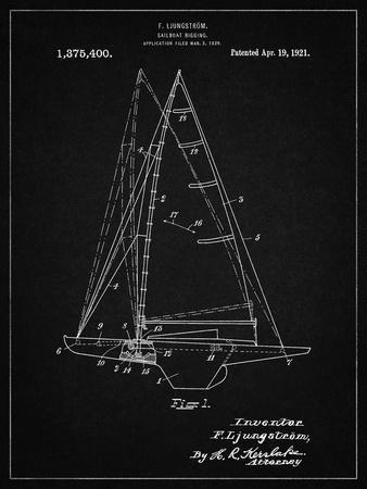 PP942-Vintage Black Ljungstrom Sailboat Rigging Patent Poster