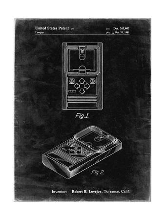 PP950-Black Grunge Mattel Electronic Basketball Game Patent Poster