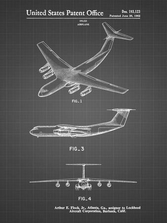 PP944-Black Grid Lockheed C-130 Hercules Airplane Patent Poster