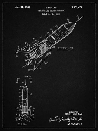 PP1016-Vintage Black Rocket Ship Concept 1963 Patent Poster