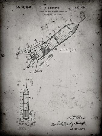 PP1016-Faded Grey Rocket Ship Concept 1963 Patent Poster