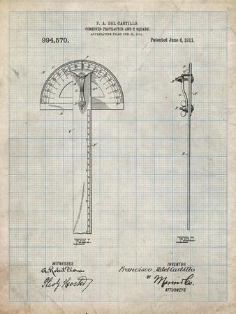 PP1002-Antique Grid Parchment Protractor T-Square Patent Poster