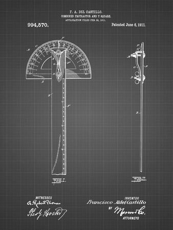 PP1002-Black Grid Protractor T-Square Patent Poster