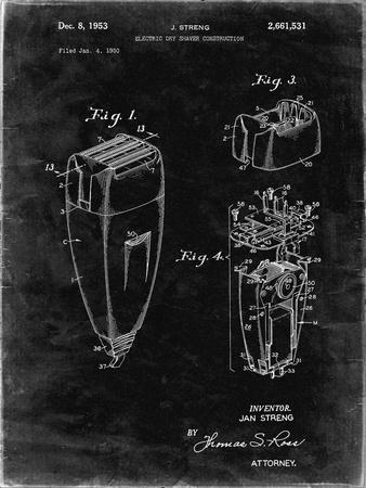 PP1011-Black Grunge Remington Electric Shaver Patent Poster