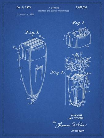 PP1011-Blueprint Remington Electric Shaver Patent Poster
