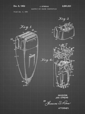 PP1011-Black Grid Remington Electric Shaver Patent Poster