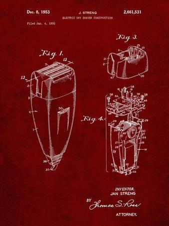PP1011-Burgundy Remington Electric Shaver Patent Poster