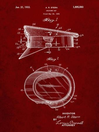 PP993-Burgundy Police Hat 1933 Patent Poster