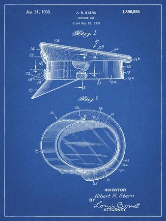 PP993-Blueprint Police Hat 1933 Patent Poster