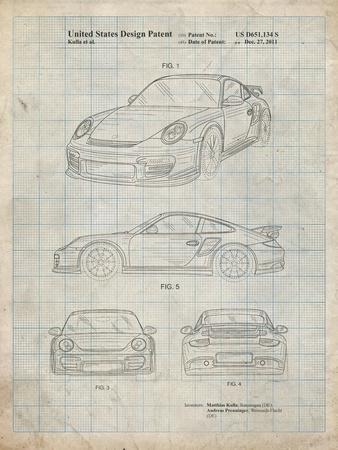 PP994-Antique Grid Parchment Porsche 911 with Spoiler Patent Poster