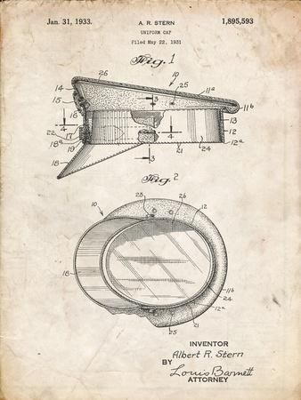 PP993-Vintage Parchment Police Hat 1933 Patent Poster
