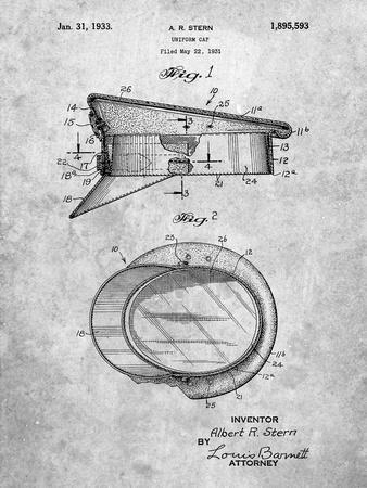 PP993-Slate Police Hat 1933 Patent Poster