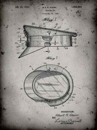 PP993-Faded Grey Police Hat 1933 Patent Poster