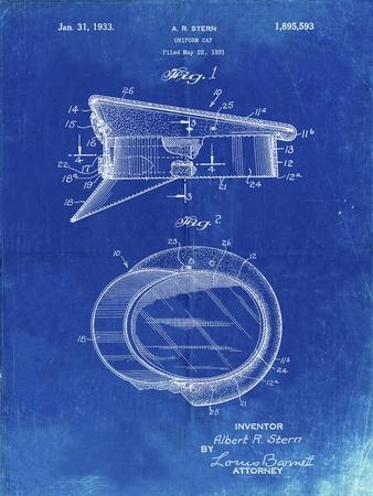 PP993-Faded Blueprint Police Hat 1933 Patent Poster