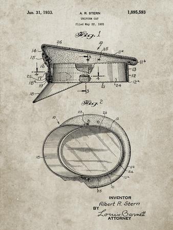 PP993-Sandstone Police Hat 1933 Patent Poster
