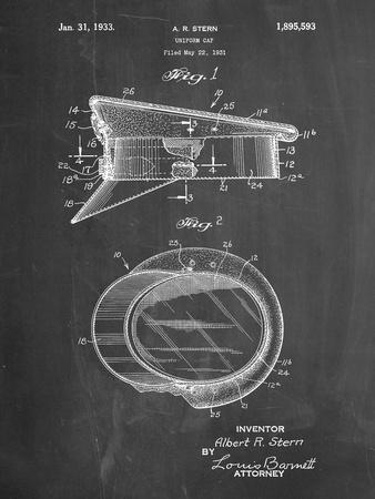 PP993-Chalkboard Police Hat 1933 Patent Poster