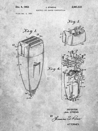 PP1011-Slate Remington Electric Shaver Patent Poster