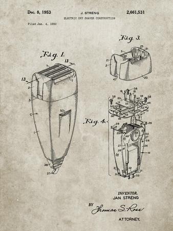 PP1011-Sandstone Remington Electric Shaver Patent Poster