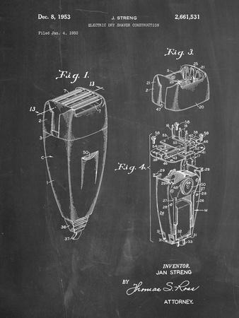 PP1011-Chalkboard Remington Electric Shaver Patent Poster