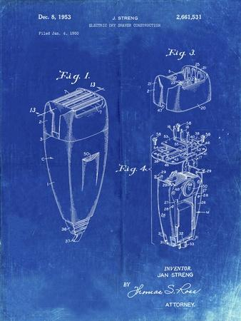 PP1011-Faded Blueprint Remington Electric Shaver Patent Poster