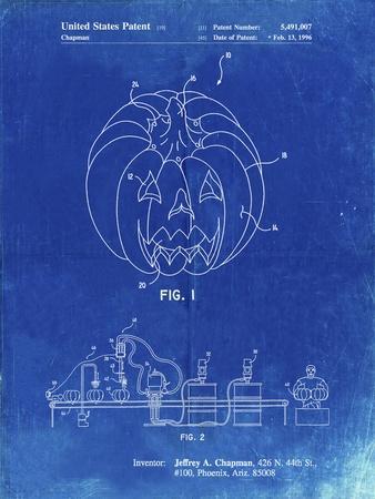 PP1003-Faded Blueprint Pumpkin Patent Poster