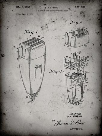 PP1011-Faded Grey Remington Electric Shaver Patent Poster