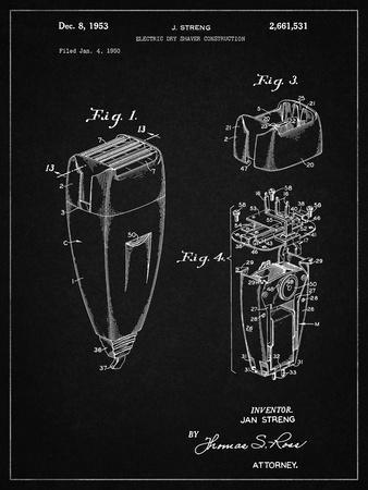 PP1011-Vintage Black Remington Electric Shaver Patent Poster