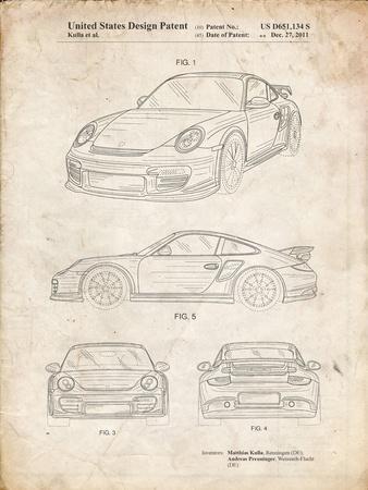 PP994-Vintage Parchment Porsche 911 with Spoiler Patent Poster