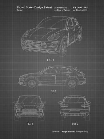 PP995-Black Grid Porsche Cayenne Patent Poster