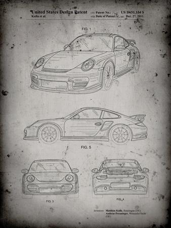 PP994-Faded Grey Porsche 911 with Spoiler Patent Poster