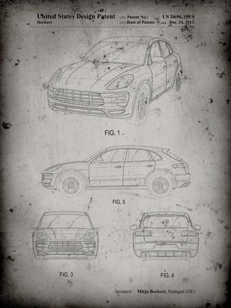 PP995-Faded Grey Porsche Cayenne Patent Poster