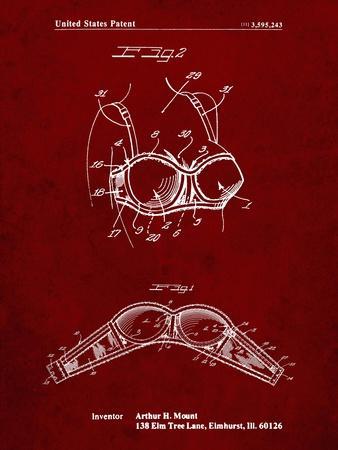 PP1004-Burgundy Push-up Bra Patent Poster