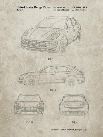 PP995-Sandstone Porsche Cayenne Patent Poster