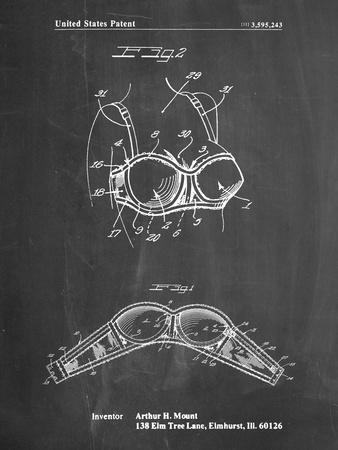 PP1004-Chalkboard Push-up Bra Patent Poster