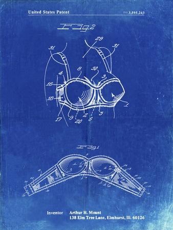 PP1004-Faded Blueprint Push-up Bra Patent Poster
