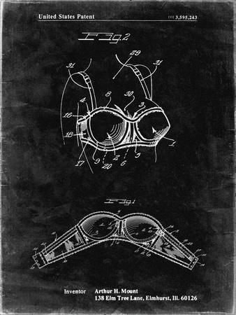 PP1004-Black Grunge Push-up Bra Patent Poster