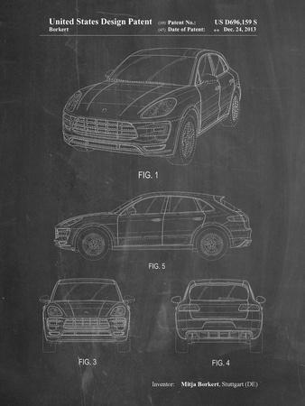 PP995-Chalkboard Porsche Cayenne Patent Poster