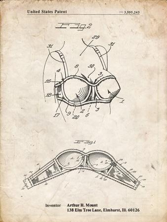 PP1004-Vintage Parchment Push-up Bra Patent Poster