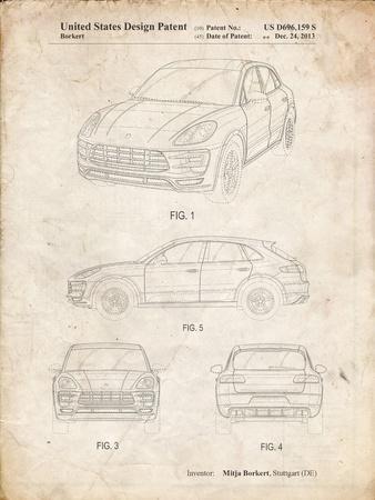 PP995-Vintage Parchment Porsche Cayenne Patent Poster