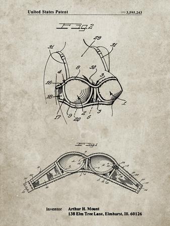 PP1004-Sandstone Push-up Bra Patent Poster