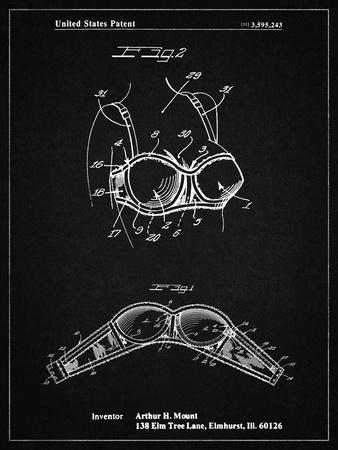 PP1004-Vintage Black Push-up Bra Patent Poster