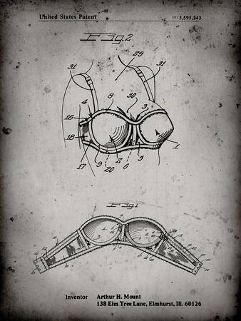 PP1004-Faded Grey Push-up Bra Patent Poster