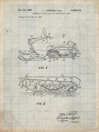 PP1046-Antique Grid Parchment Snow Mobile Patent Poster