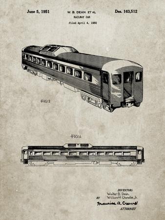PP1006-Sandstone Railway Passenger Car Patent Poster