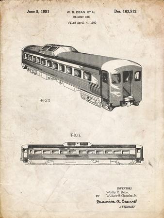 PP1006-Vintage Parchment Railway Passenger Car Patent Poster