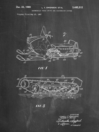 PP1046-Chalkboard Snow Mobile Patent Poster
