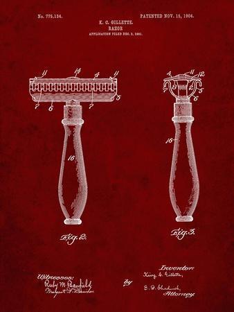 PP1026-Burgundy Safety Razor Patent Poster