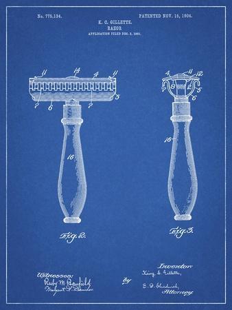 PP1026-Blueprint Safety Razor Patent Poster